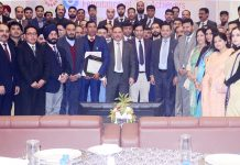 JK Bank Chairman, Parvez Ahmed alongwith bank achievers at a function in Jammu.