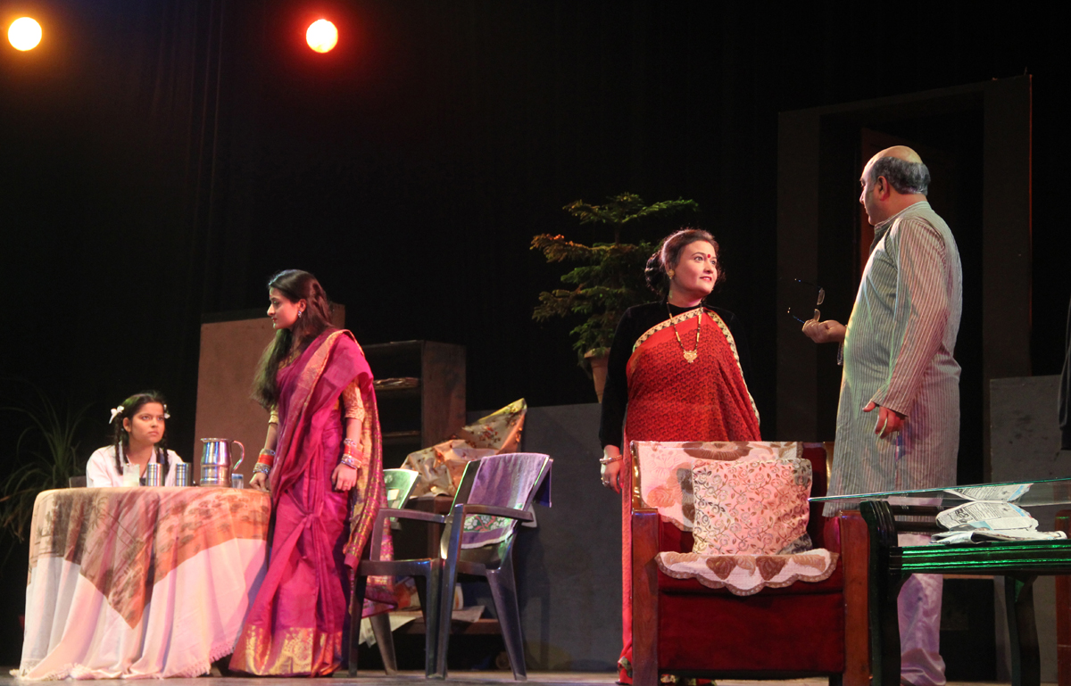 A scene from play Adhe-Adhure staged by Natyakarmi at Abhinav Theatre on Tuesday. -Excelsior/Rakesh