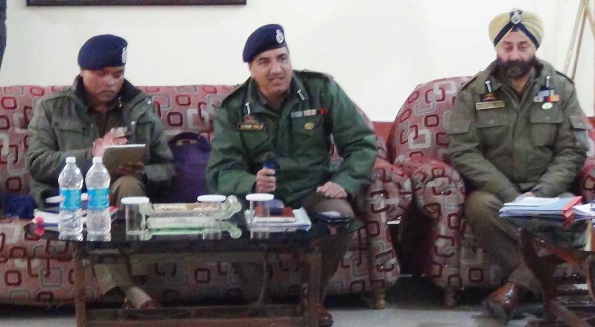 Police officers during meeting at DPL Doda on Friday.