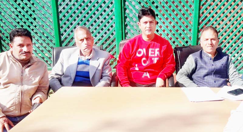BJP leaders from Kishtwar at a press conference at Jammu on Wednesday.