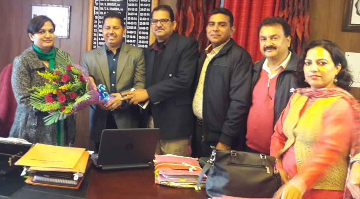 A delegation of Plus-2 Lecturers' Forum during a meeting with Director School Education, Anuradha Gupta at Jammu on Thursday.