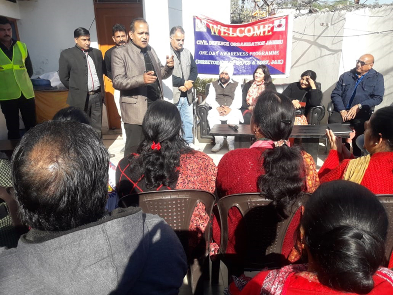 An instructor addressing a gathering during an awareness programme by Civil Defence at Jammu on Saturday.