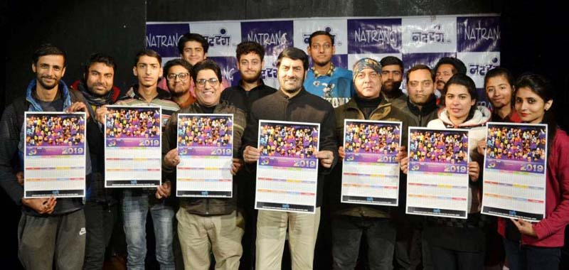 Director Natrang, Balwant Thakur releasing calendar of Natrang for 2019 at Jammu on Thursday.
