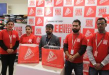 Officials of Brand Factory on the launch of 'Free Shopping Weekend' in Jammu.
