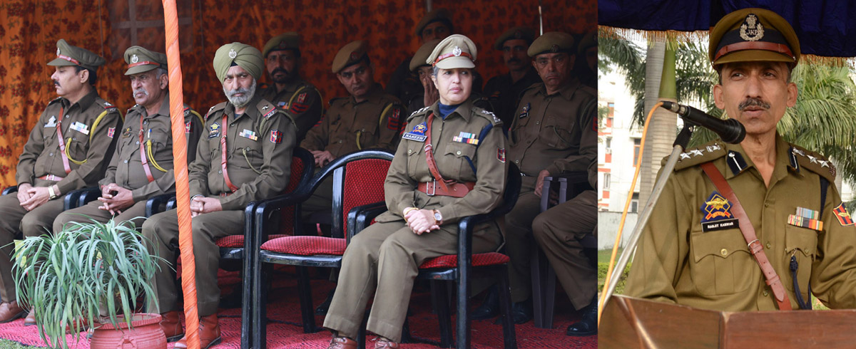 Police personnel during celebrations of 56th Raising Day of HG/CD at Jammu on Thursday.