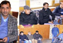 Joint Director Information Kashmir Mohammad Ashraf Hakak chairing a meeting in Srinagar on Wednesday.