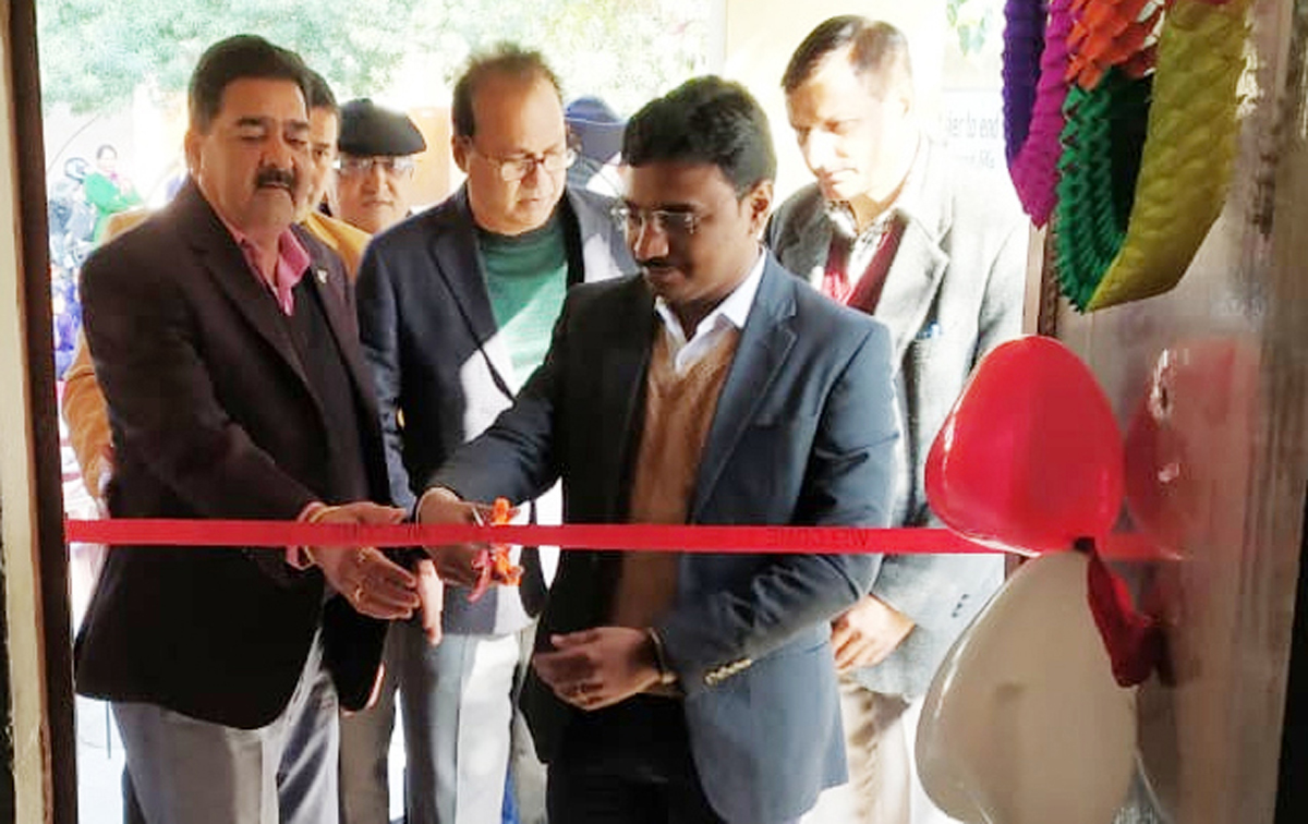 SDM South, Srikant Balasaheeb Suse, inaugurating 'projector & computer' at GHS Old Satwari in Jammu.
