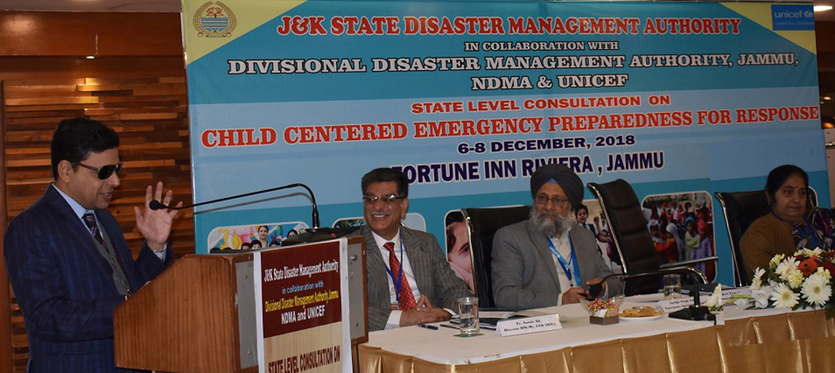 Div Com Sanjeev Verma addressing a workshop in Jammu on Thursday.