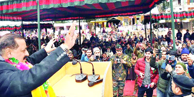 Union Minister, Dr Jitendra Singh waving to the crowd at a public meeting at Gool in Ramban district on Saturday.
