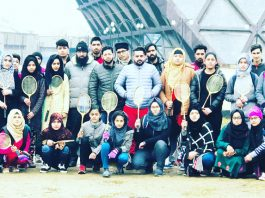 Selected Ball Badminton players posing along with dignitaries and officials in Srinagar on Saturday.