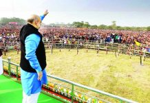 BJP chief Amit Shah addressing public gathering in Malda, West Bengal on Tuesday.
