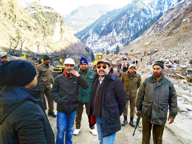 Pakistan delegation at the site of Pakal Dul in Kishtwar on Tuesday.