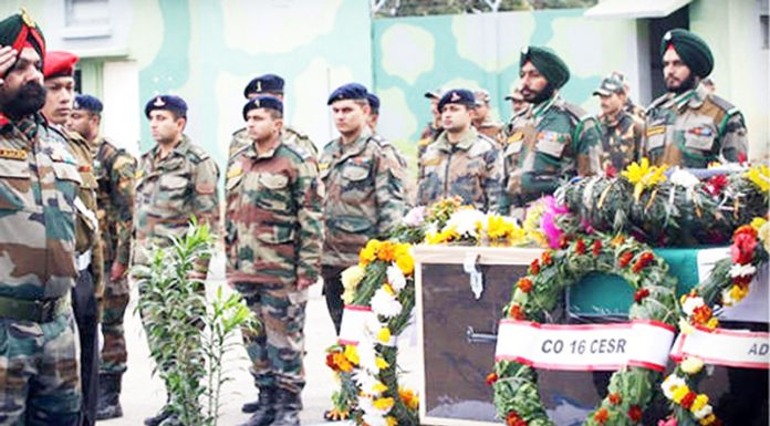 Martyr Major Shashi Nair being given emotional adieu in Pune on Saturday.
