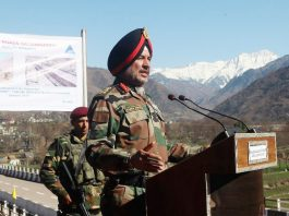 Northern Command chief Lt Gen Ranbir Singh speaking to media persons in Poonch on Thursday. -Excelsior/Harbhajan
