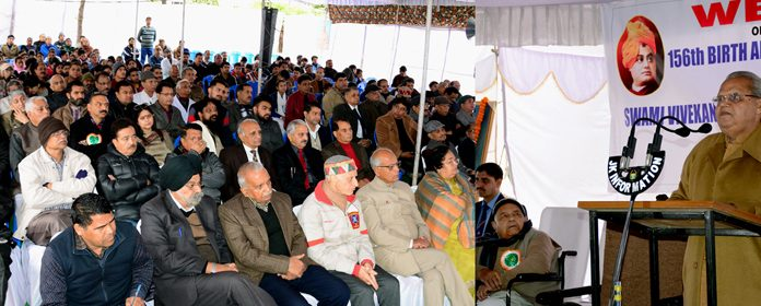 Governor Satya Pal Malik addressing a function at Swami Vivekananda Medical Mission Charitable Hospital in Jammu on Saturday.