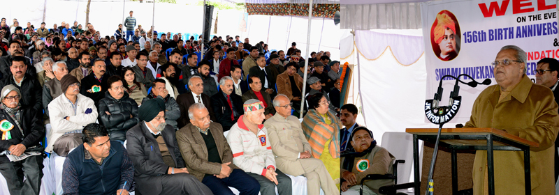 Governor Satya Pal Malik addressing a function at Swami Vivekananda Medical Mission Charitable Hospital in Jammu on Saturday.