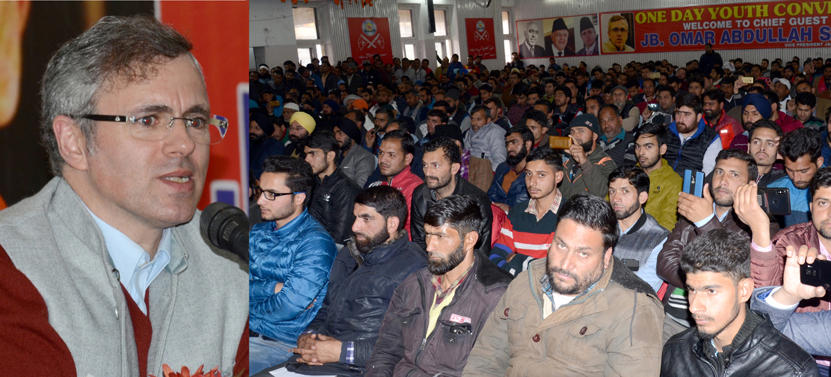 NC vice president Omar Abdullah addressing Youth NC convention in Jammu on Tuesday. -Excelsior/Rakesh
