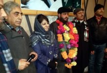 PDP president Mehbooba Mufti at party workers' convention in Srinagar on Monday.