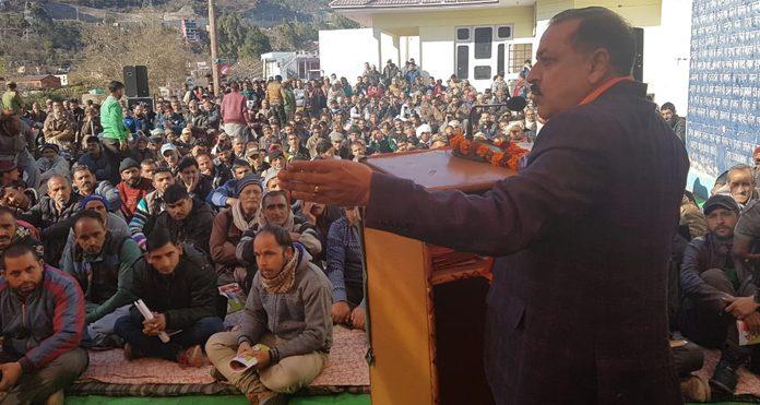Union Minister Dr Jitendra Singh addressing BJP 'Navrattan Sammelan' at Chenani on Monday.