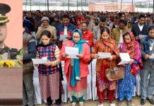 Governor Satya Pal Malik addressing the Sarpanchs in Jammu on Friday. -Excelsior/Rakesh