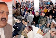 Union Minister Dr Jitendra Singh addressing a function at Udhampur on Monday. -Excelsior/Rakesh