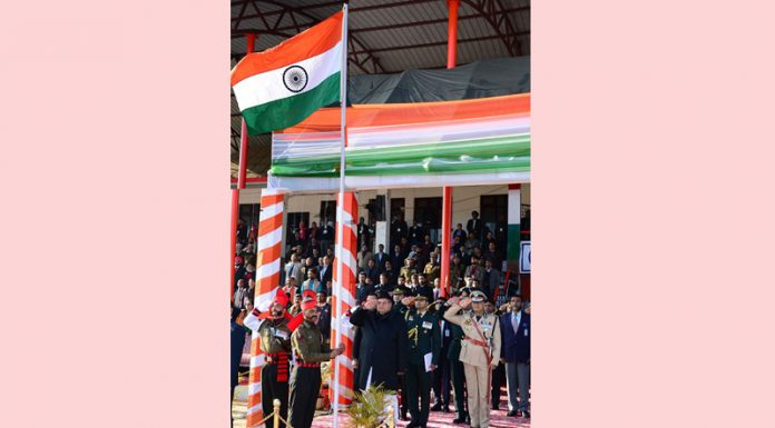 Governor Satya Pal Malik salutes tricolor during Republic Day parade in Jammu.