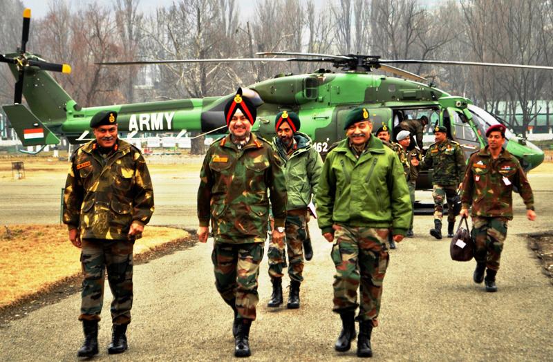 Northern Command chief Lt Gen Ranbir Singh in Srinagar on Wednesday.