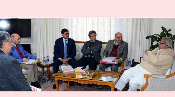 Governor Satya Pal Malik chairing the SAC meeting in Jammu on Monday.