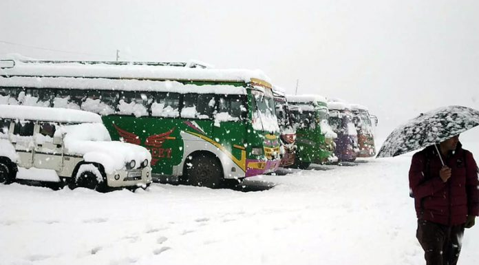 Vehicles parked amidst heavy snowfall at Bhaderwah Bus Stand on Tuesday. -Excelsior/Tilak Raj