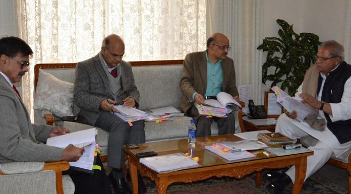 Governor Satya Pal Malik chairing the SAC meeting in Jammu on Friday.