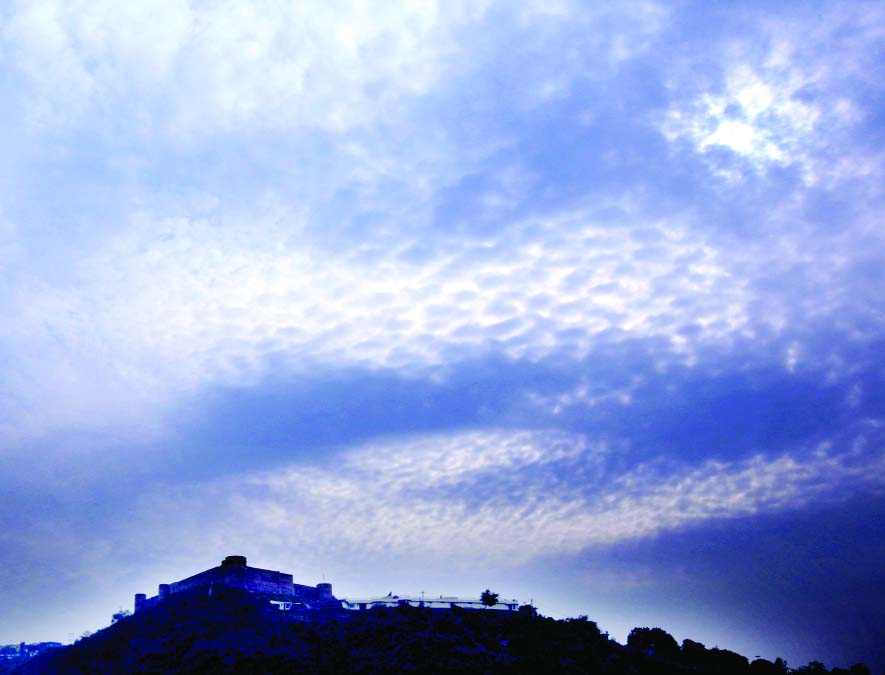 Panoramic view of Bahu Fort under the blanket of clouds in Jammu. —Excelsior/Rakesh