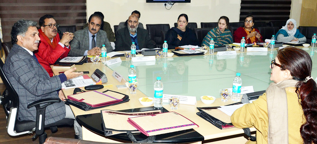 Advisor Khurshid Ganai chairing a meeting on Saturday.