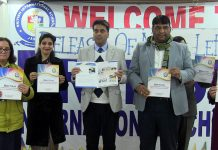 Chief guest Talat Parvez Rohella, Excise Commissioner, Jammu and other dignitaries releasing School Newsletter on Monday.