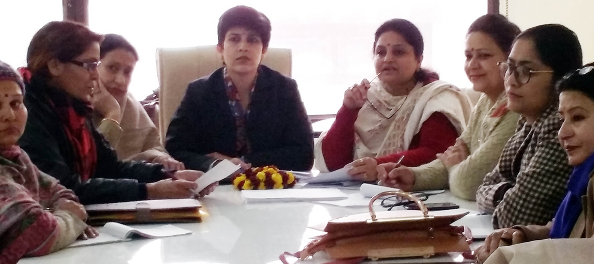 BJP Mahila Morcha leaders during a meeting at Jammu on Thursday.