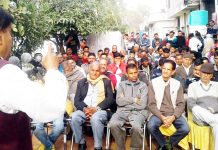 NPP leader Harsh Dev Singh addressing public meeting on Saturday.