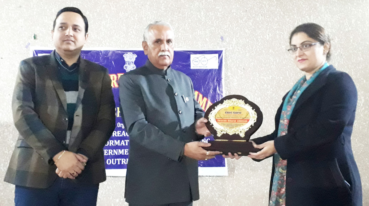 MP Shamsher Singh Manhas being presented a memento by Deputy Director, ROB, Neha Jalali at Jammu on Wednesday.