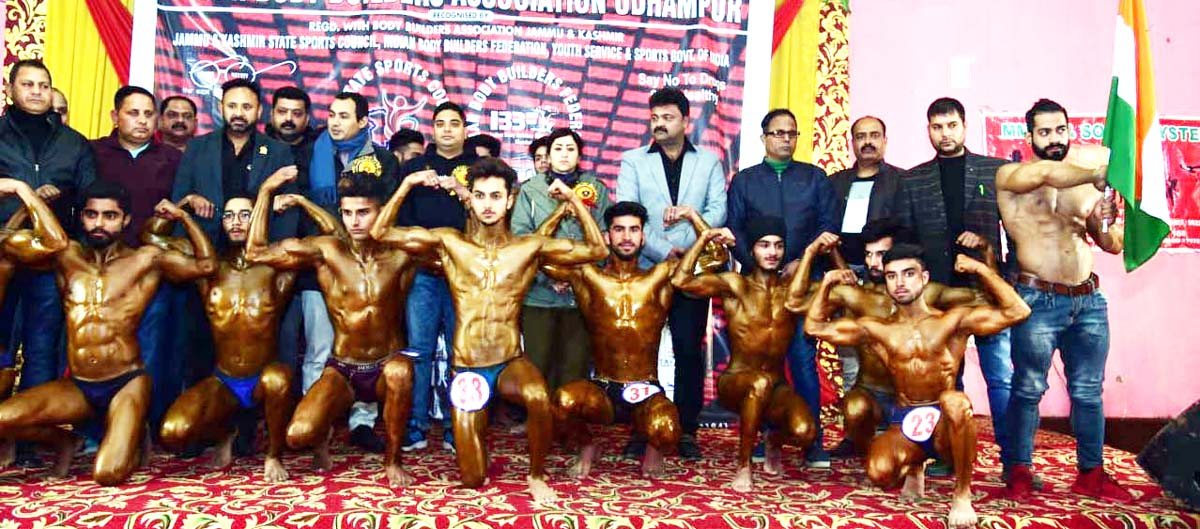 Body Builders during 1st Mr Udhampur Body Building and Fitness Championship.