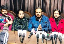 ABVP leaders addressing press conference at Jammu on Tuesday.