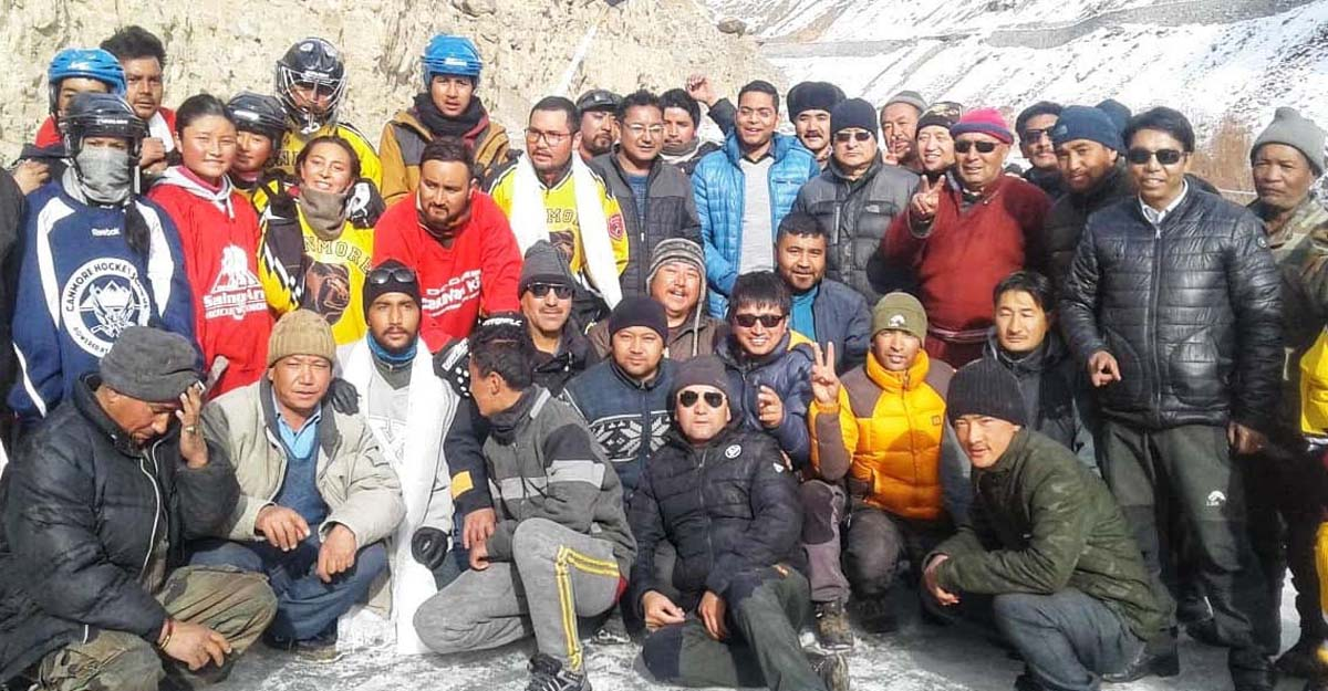 Sportspersons posing along with dignitaries during inauguration of Ice Hockey Rink in Leh.