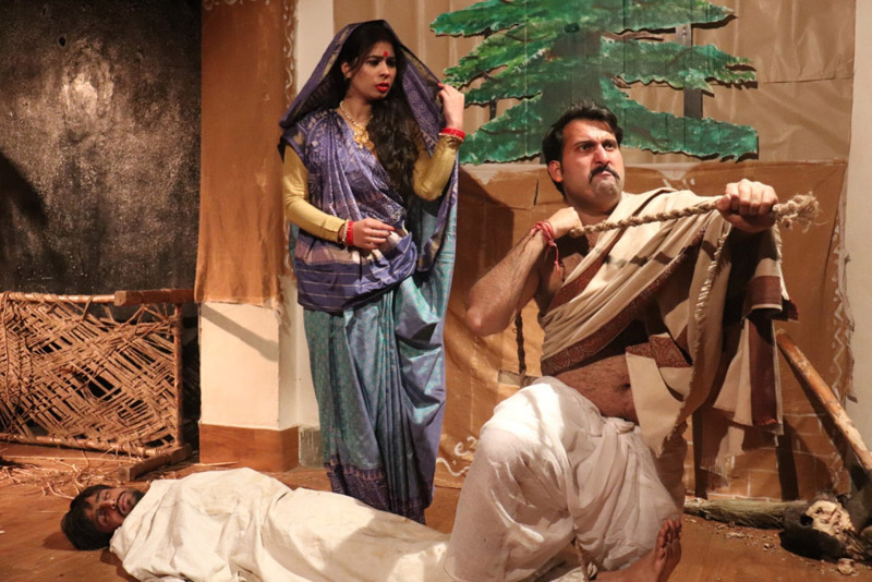 A scene from the play 'Sadgati' staged in Jammu on Wednesday.