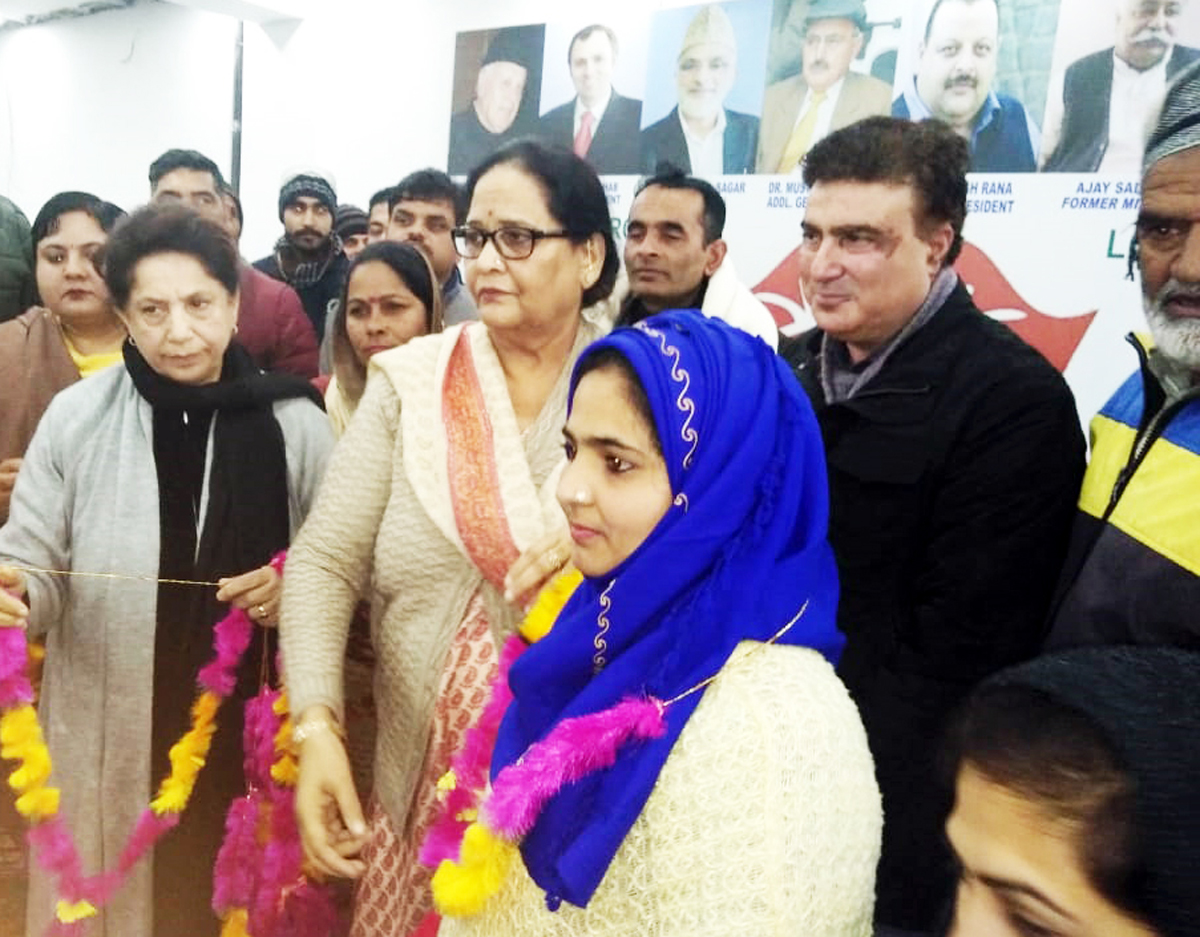 NC Women Wing leader, Bimla Luthra at a party function in Udhampur on Saturday.