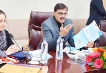 Advisor K Vijay Kumar chairing a meeting on Saturday.