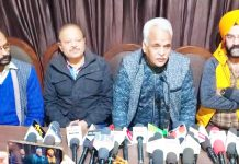 MLC Ramesh Arora at a press conference at Jammu on Saturday.