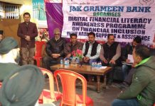 Officers of J&K Grameen Bank during a Financial Literacy Programme in Kathua on Wednesday.