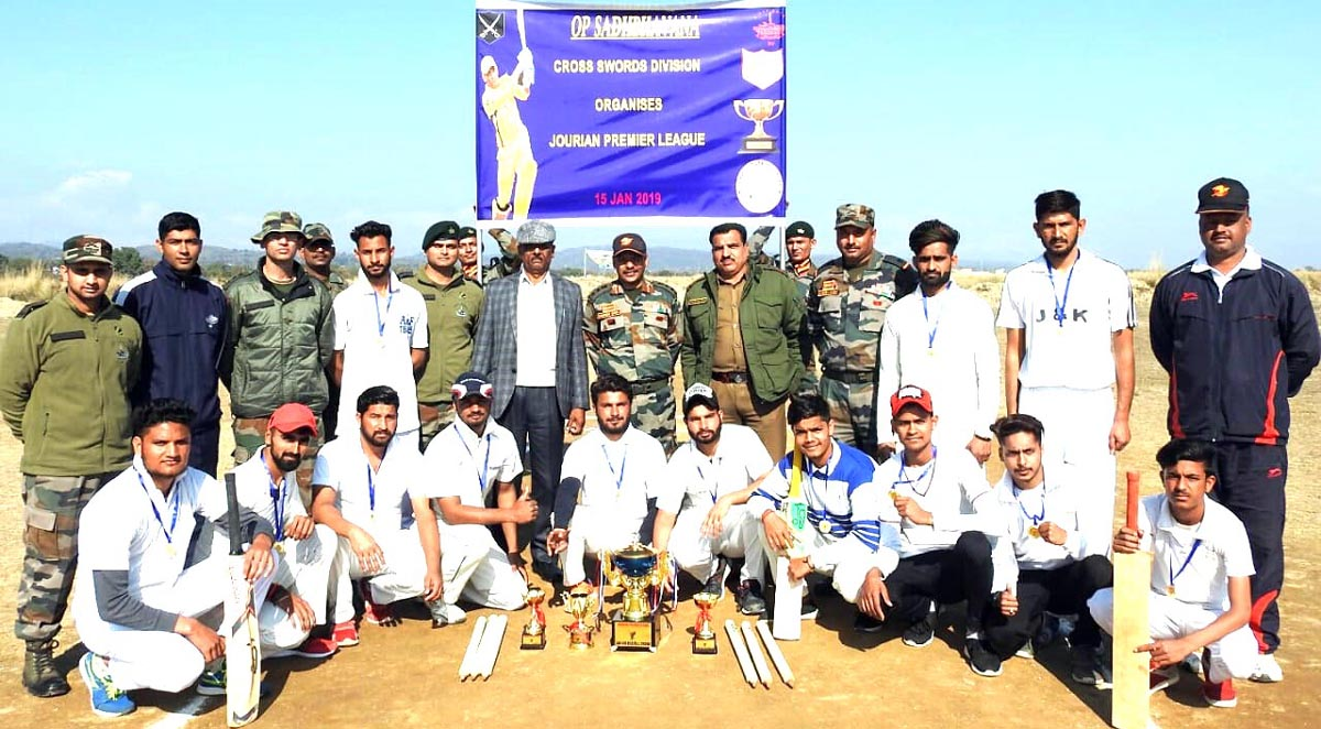 Winners of Jourian Premier League posing along with dignitaries and officials at Jourian on Sunday.