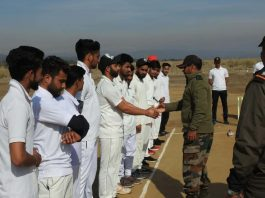 Army Officer interacting with the players during inaugural match of the Jourian Premier League on Tuesday.