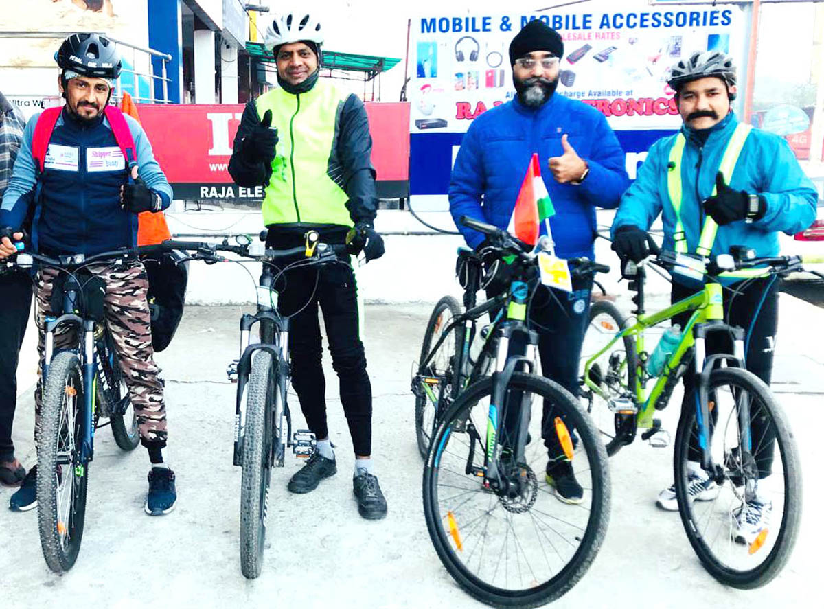 Cyclist Group seeing off missionary Narpat Singh in Jammu.