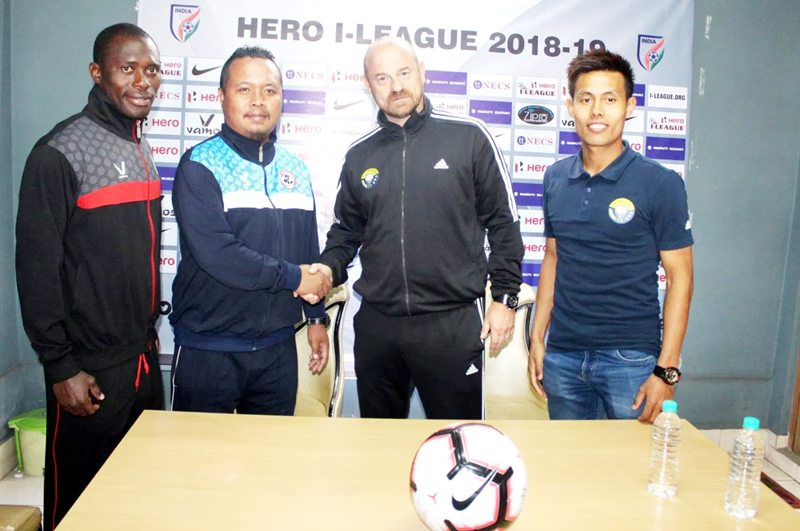 Real Kashmir Head coach, David Robertson alongwith other officials during pre-match press conference.