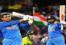 Dhoni hitting a winning stroke during his knock of 55 runs (L) Virat Kolhi celebrating his century in 2nd ODI against Australia at Adelaide.