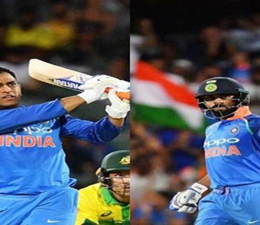 Dhoni hitting a winning stroke during his knock of 55 runs (L) Virat Kolhi celebrating his century in 2nd ODI against Australia at Adelaide.